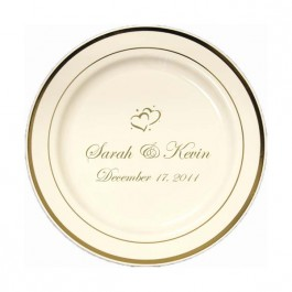 "Ivory / Gold 7.5"" Premium Plastic Plate w/ Trim"
