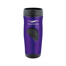 Purple / Black 16 oz Stainless Thumbprint Travel Tumbler