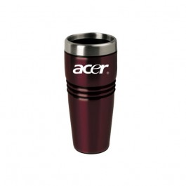 Red / Silver 16 oz. Stainless Steel Sleek Mug