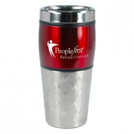 Red / Silver 16 oz Diamond Stainless Steel Traveler Coffee Mug