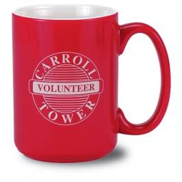 Red / White 13 1/2 oz El Grande Two Tone Red Vitrified Ceramic Coffee Mug