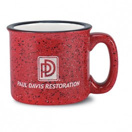 Red / White 14 oz Campfire Speckle Red Vitrified Ceramic Coffee Mug