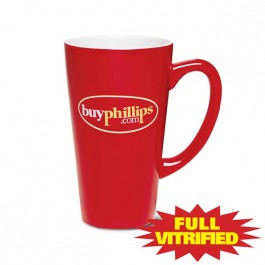 Red / White 15 oz Firehouse Red Vitrified Ceramic Coffee Mug