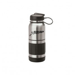Silver / Black 34 oz. Stainless Steel Flip Top Water Bottle