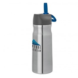 Silver / Blue 26 oz. Carabiner Clip Steel Water Bottle