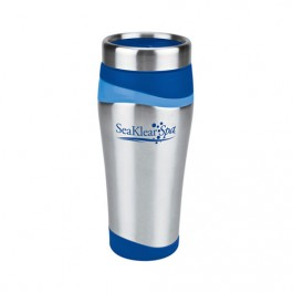 Silver / Blue 16 oz. Color Touch Stainless Travel Tumbler