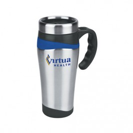 Silver / Blue 16 oz. Color Touch Stainless Travel Mug