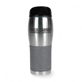 Silver / Charcoal 14 oz SS Wrap Plastic Liner Travel Coffee Tumbler