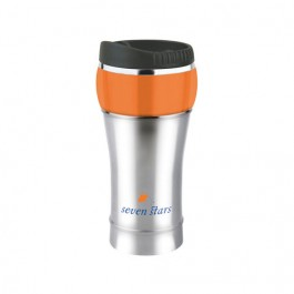 Silver / Orange 16 oz. Stainless Bubble Travel Tumbler
