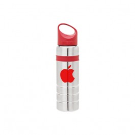Silver / Red 24 oz. Color Band Stainless Steel Water Bottle