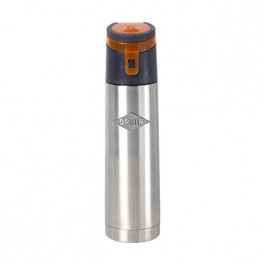 Stainless / Orange 18 oz Engraved Wedge Vacuum Water Bottle
