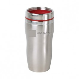 Stainless / Red 16 oz Engraved Accent Lid Tapered SS Tumbler