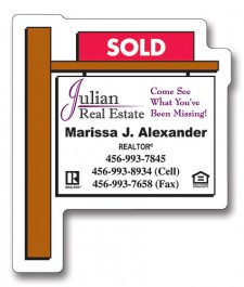White 2.25 x 2.75 Real Estate Sold Sign Shape Magnet