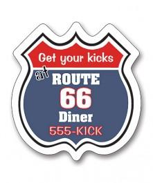 White 2.9375 x 2.5 Road Sign / Badge Shape Magnet