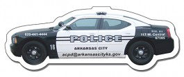 White 4.5 x 1.65 Police Car Shape Outdoor Magnet