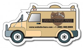 White 4 x 2.25 Armored Truck Shape Magnet