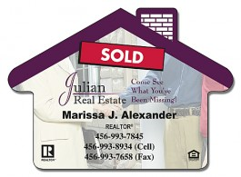 White 3.5 x 2.5 Real Estate / House Shape Magnet
