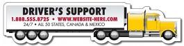 White 6.625 x 1.58 Semi Truck Shape Magnet