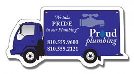 White 4.5 x 2.25 Delivery Truck Shape Magnet