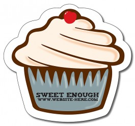White 4.0625 x 3.75 Cupcake Shape Magnet