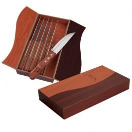 Walnut Laser Etched Ying Yang Box Steak Knife Set