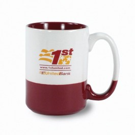 White / Maroon 13 1/2 oz Varsity Vitrified Ceramic Coffee Mug - White / Maroon
