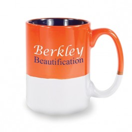 White / Orange / Blue 13 1/2 oz Varsity Vitrified Ceramic Coffee Mug - White / Orange