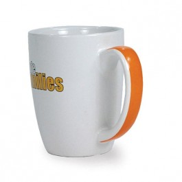 White / Orange 11 oz Ribbon Ceramic Coffee Mug