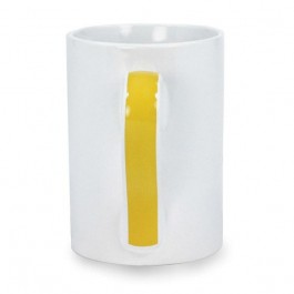 White / Yellow 14 oz Mulligan Stripe Handle Ceramic Coffee Mug