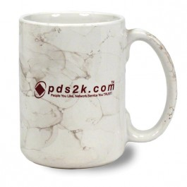 White 15 oz Marbleized Ceramic Coffee Mug