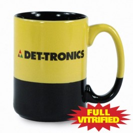 Yellow / Black 13 1/2 oz Varsity Yellow & Black Vitrified Ceramic Coffee Mug