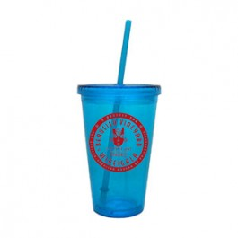 Aqua 16oz Acrylic Double Wall Chiller Cup & Straw