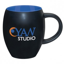 Black / Blue 15 oz. Matte Barrel with Color Coffee Mug