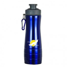 Blue / Gray 28 oz Single-Wall Ridged Sports Bottle