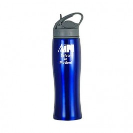 Blue / Gray 28 oz Single-Wall Curved Bottle with Straw