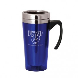 Blue / Silver 16 oz Classic Stainless Steel Travel Mug