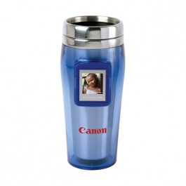 Blue / Stainless 16 oz Digital Photo Tumbler