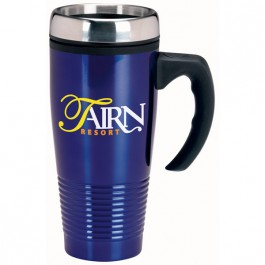 Blue 15 oz. Stainless Ridged Travel Mug