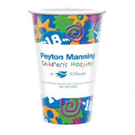 White 16 oz Cold Beverage Paper Cup - Full Color