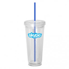 Clear / Blue 20 oz Acrylic Double Wall Tumbler with Straw