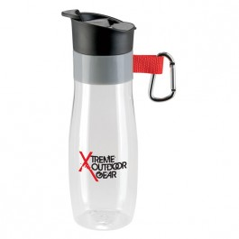 Clear / Red 24 oz. Vista Water Bottle with Carabiner