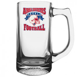 Clear 13 oz Football Glass Sport Mug - Full Color