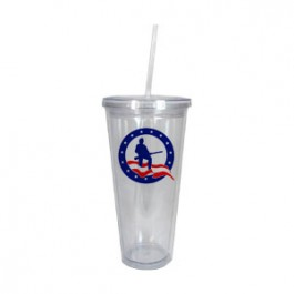 Clear 24oz Acrylic Double Wall Chiller Cup & Straw