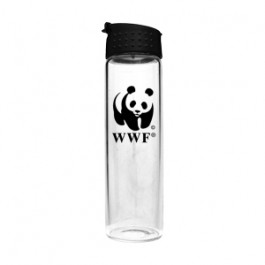 Clear 16 oz Flip Top Glass Water Bottle