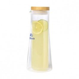 Clear 1L Double Wall Glass Carafe w/ Bamboo Lid