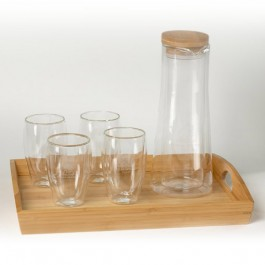 Clear 10 oz Binara Set w/Tray and Carafe