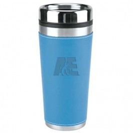 Baby Blue 16 oz Debossed Leatherette Travel Tumbler