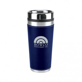 Navy Blue 16 oz Leatherette Travel Tumbler