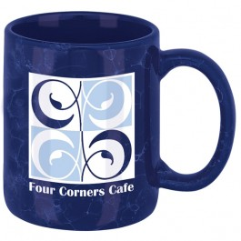 Dark Blue 12 oz. Marble Ironstone Coffee Mug