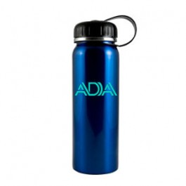 Electric Teal Blue / Black 26 oz Quest Stainless Steel Water Bottle